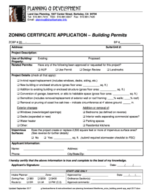 Get And Sign Zoning Certificate Application Building Permit