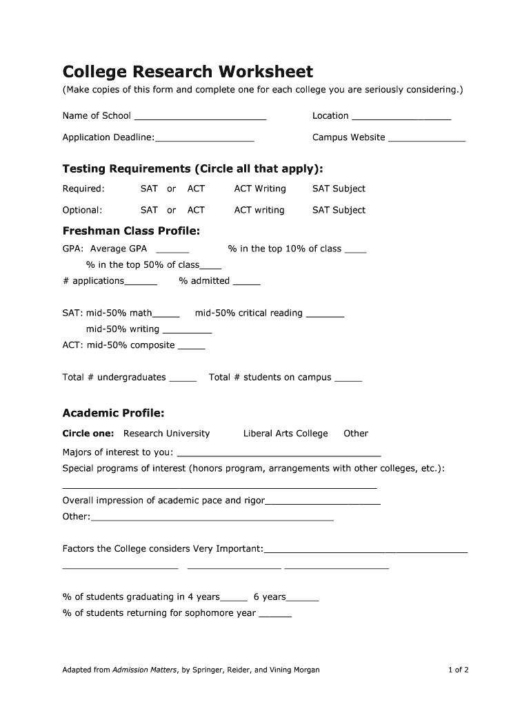College Research Worksheet For High School   Fill Out and ...