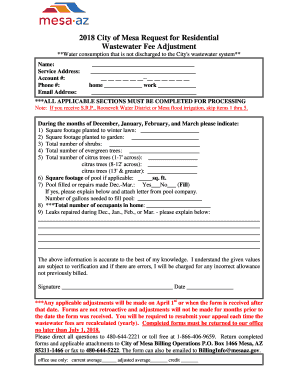 Get And Sign City Of Mesa Wastewater Adjustment Form 2018-2021