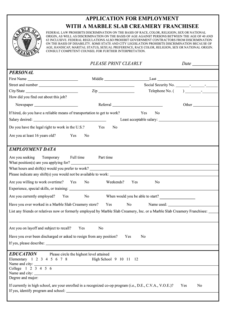 Get And Sign Marble Slab Application Form