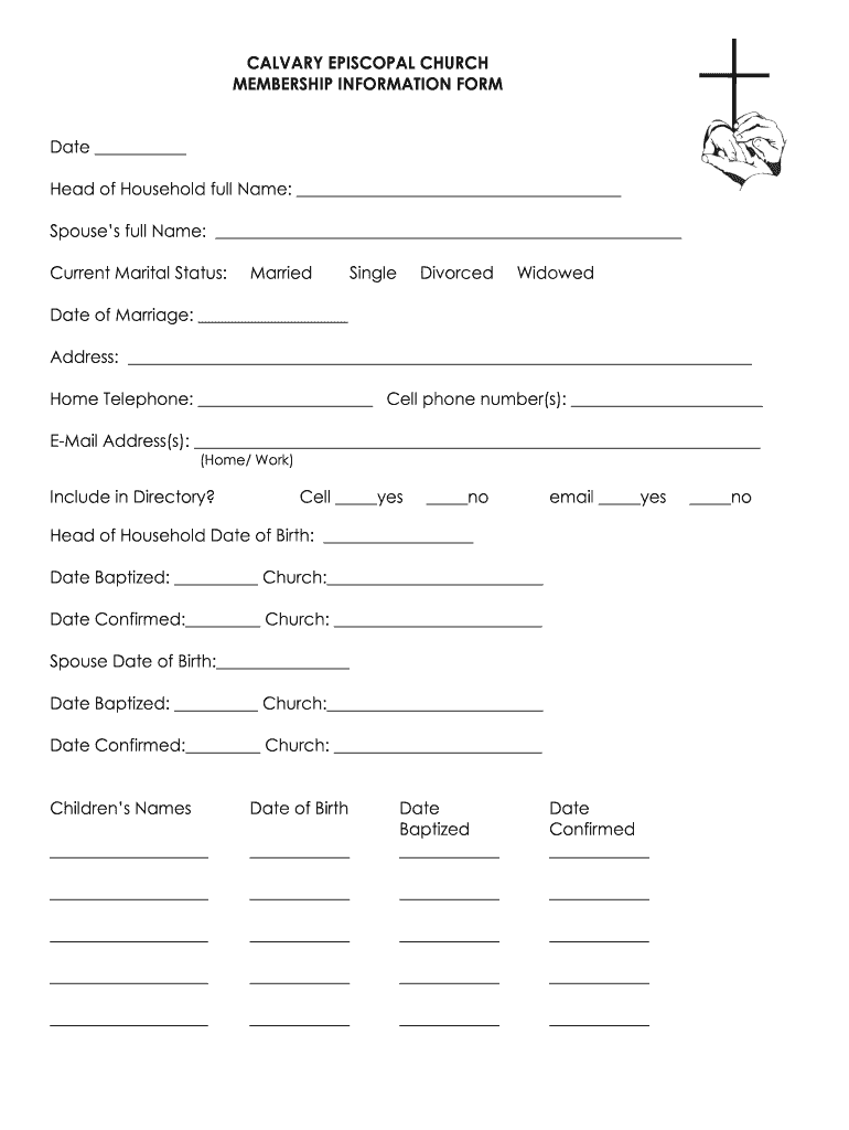 Get And Sign Church Member Information Form
