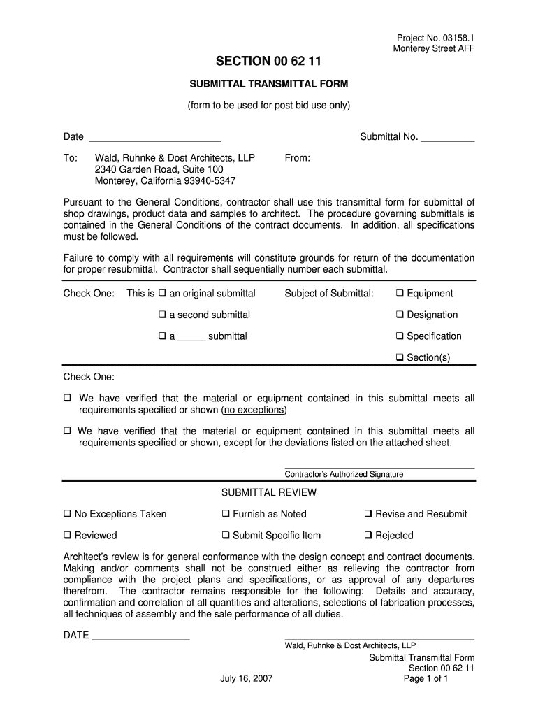 Get And Sign Submittal Template Pdf 2007-2021 Form