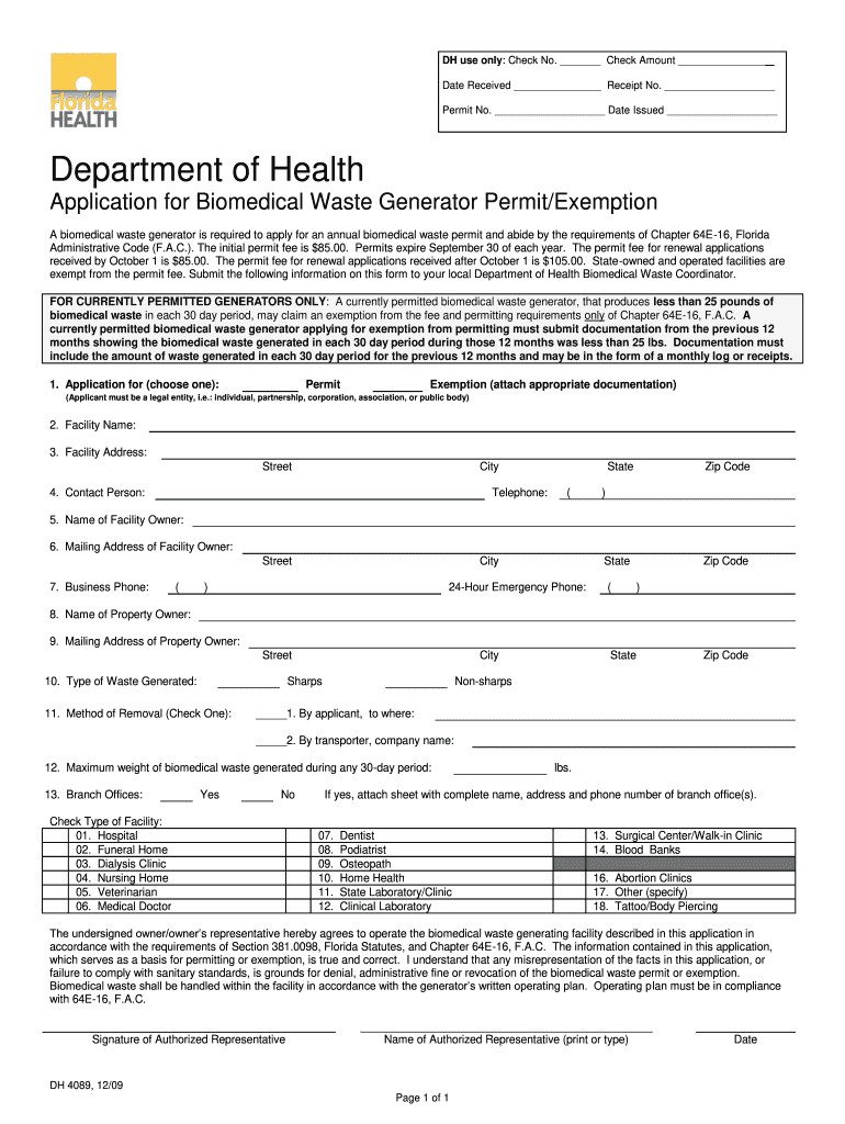 Get And Sign Florida Application Biomedical Waste 2009-2021 Form