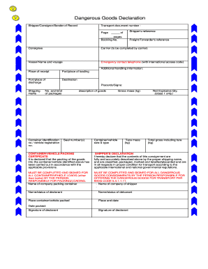 Imo dangerous goods declaration form - Fill Out and Sign Printable
