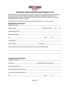 picture about Schlotzsky's Printable Menu identified as Sponsorship donation type - Fill Out and Indicator Printable PDF