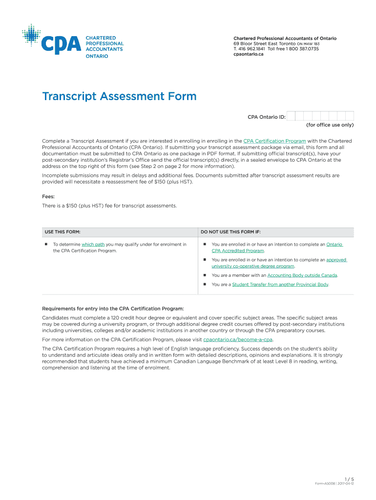 Get And Sign CPA Ontario  Transcript Assessment Form CPA Ontario  Transcript Assessment Form 2017-2021