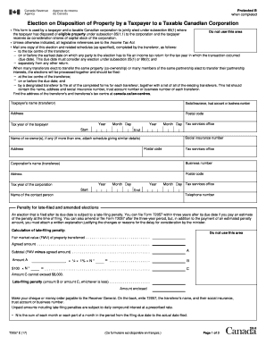 Get And Sign Election On Disposition Of Property By A Taxpayer To A Canada ca Form