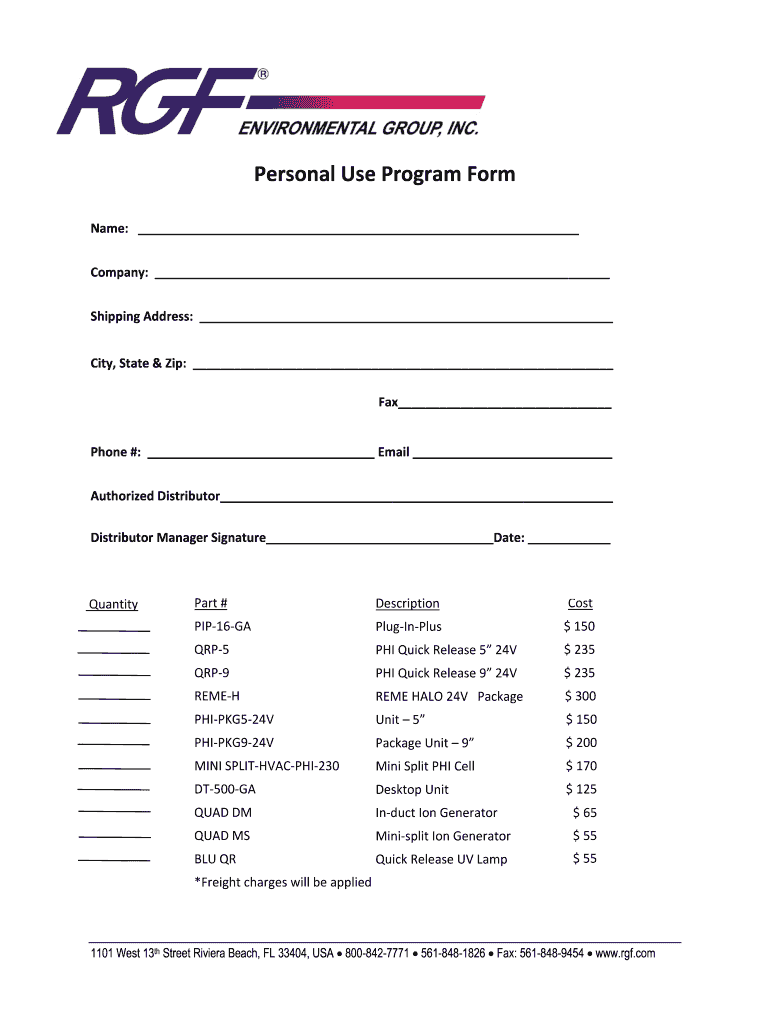 Get And Sign Personal Use Program Form RGF Environmental Group