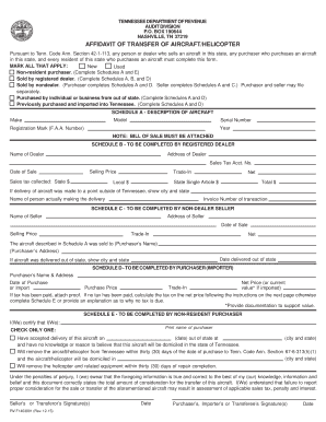 Get And Sign Tennessee Affidavit Of Transfer Of Aircrafthelicopter 2015-2019 Form