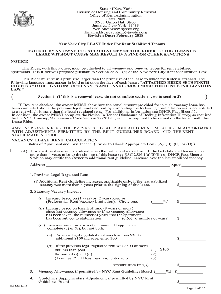 Get And Sign Nyc Dept Of Housing Cr Rent Stabilied Rider 2018-2021 Form