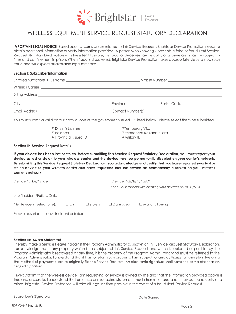 Brightstar Service Request Form Fill Out And Sign Printable Pdf