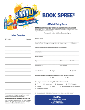 Get And Sign Sunny D Book Spree 2016-2021 Form