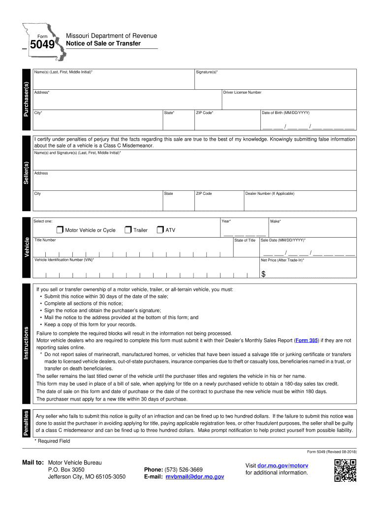 Get And Sign Missouri Department Of Revenue Form 5049 2018-2021