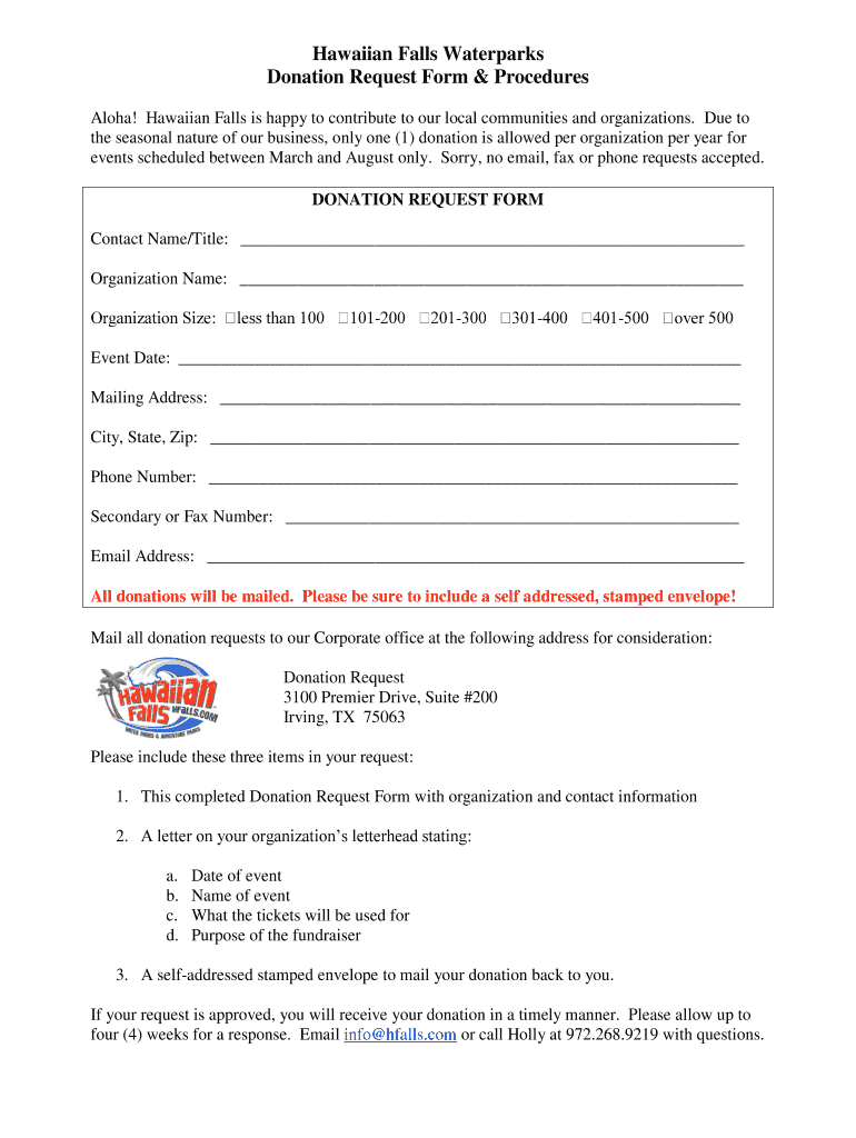 Get And Sign Hawaiian Falls Donation Request Form