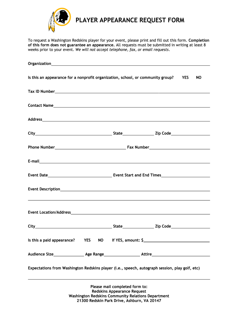 Get And Sign PLAYER APPEARANCE REQUEST FORM Washington Redskins