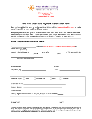 One Time Credit Card Payment Authorization Form - Household