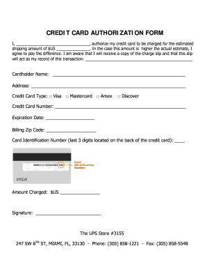 Get And Sign Credit Card Authorization Form The Ups Store 3155