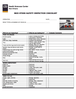 Bobcat inspection checklist form - Fill Out and Sign