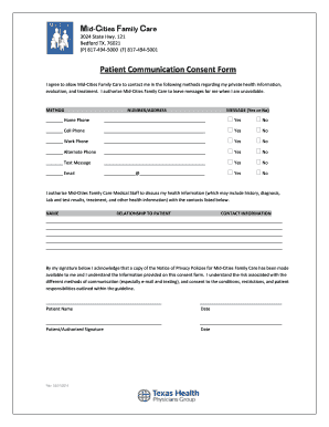 Get And Sign Patient Communication Consent Form Medfusion Medfusion 2014-2021