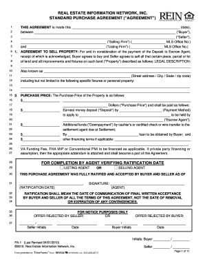 Rein Standard Purchase Agreement Form Fill Out And Sign
