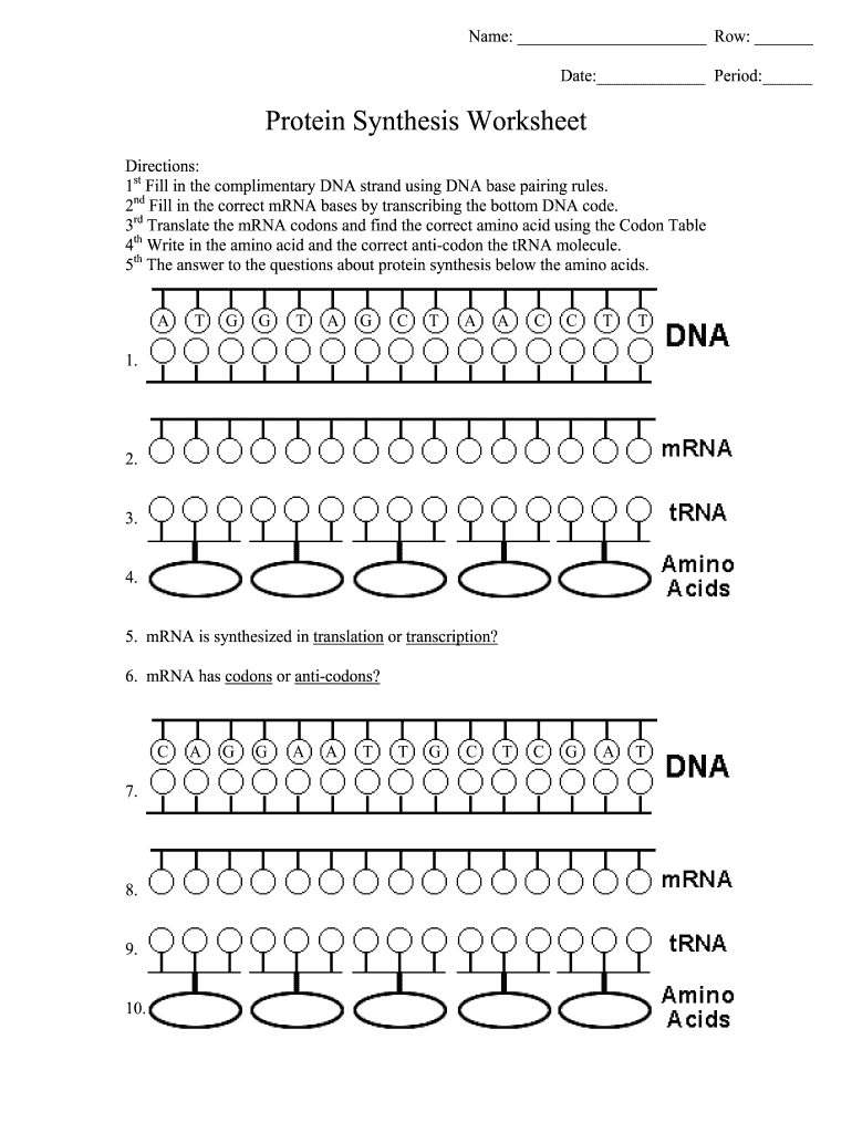 Protein Synthesis Worksheet Answer Key Pdf - Fill Out and ...