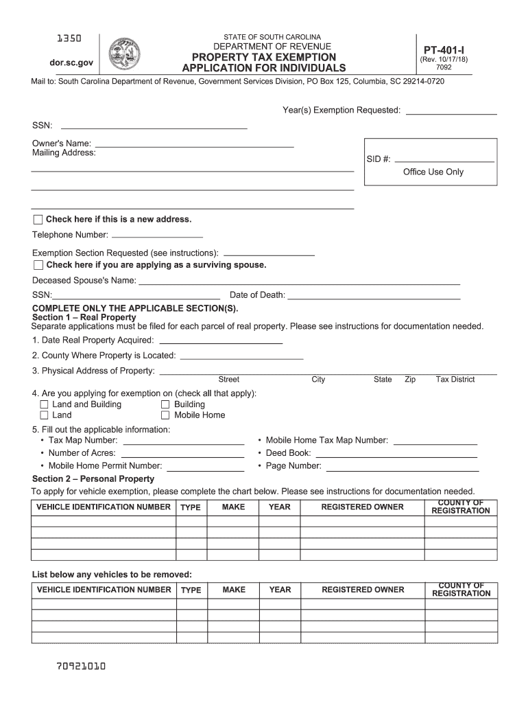 Get And Sign Property Tax Exemption For Individuals For South Carolina Pt 401 1 Fillable 2018-2021 Form