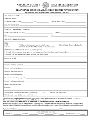 Get And Sign Grayson Co Texas Food Permit 2015-2021 Form