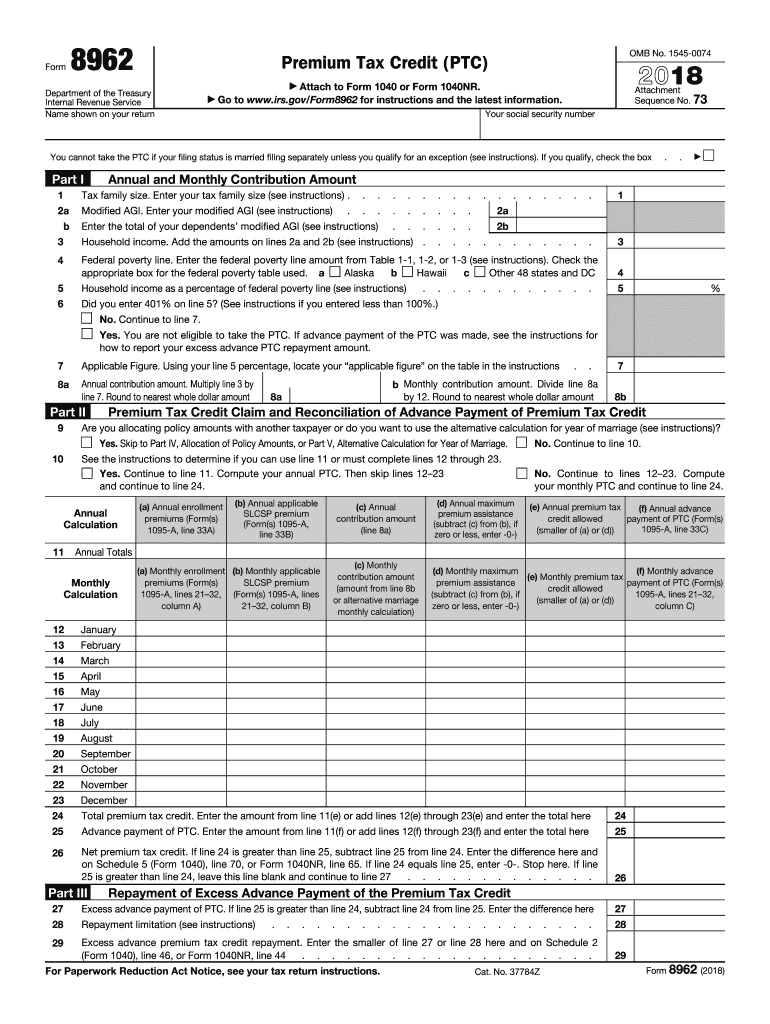 Form 8962 Fill Out And Sign Printable Pdf Template Signnow