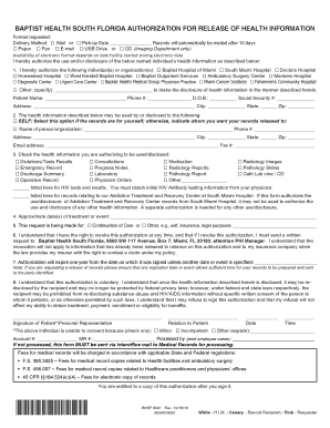 Get And Sign Obtaining Medical Records Baptist Health South Florida Form