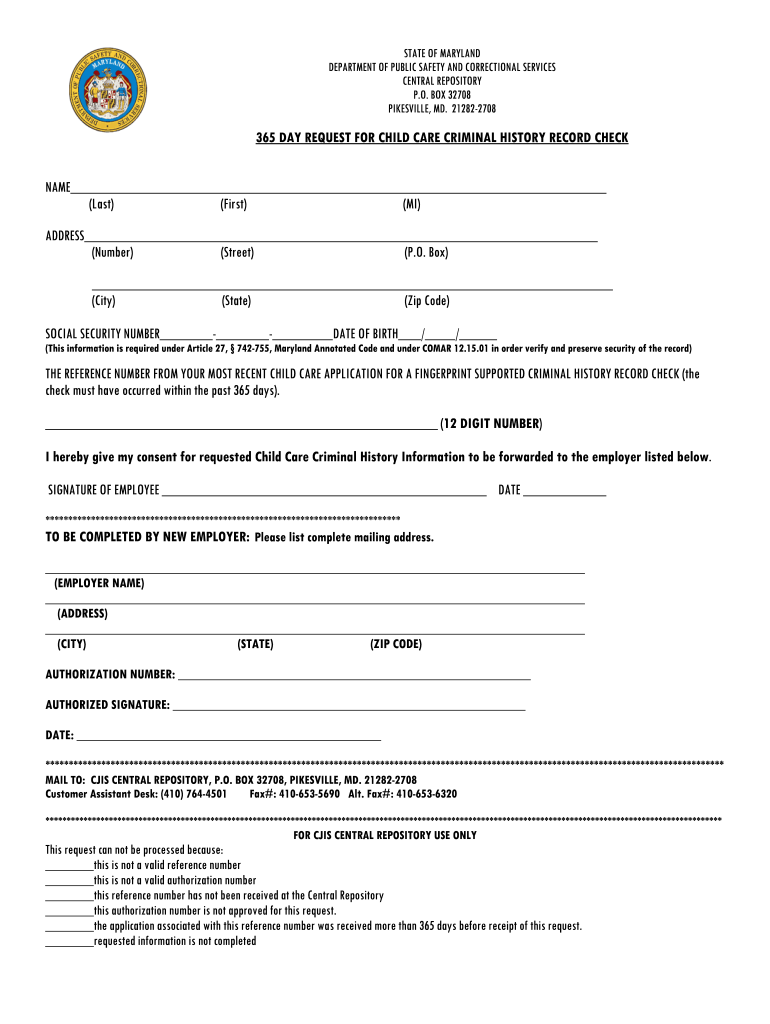 Get And Sign 365 Day Form Cjis