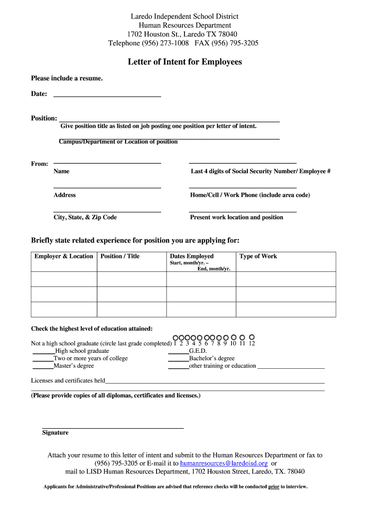 Get And Sign Employment Letter Of Intent Form