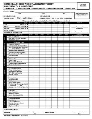 Duty Weekley Asignment Sheet Form Fill Out And Sign