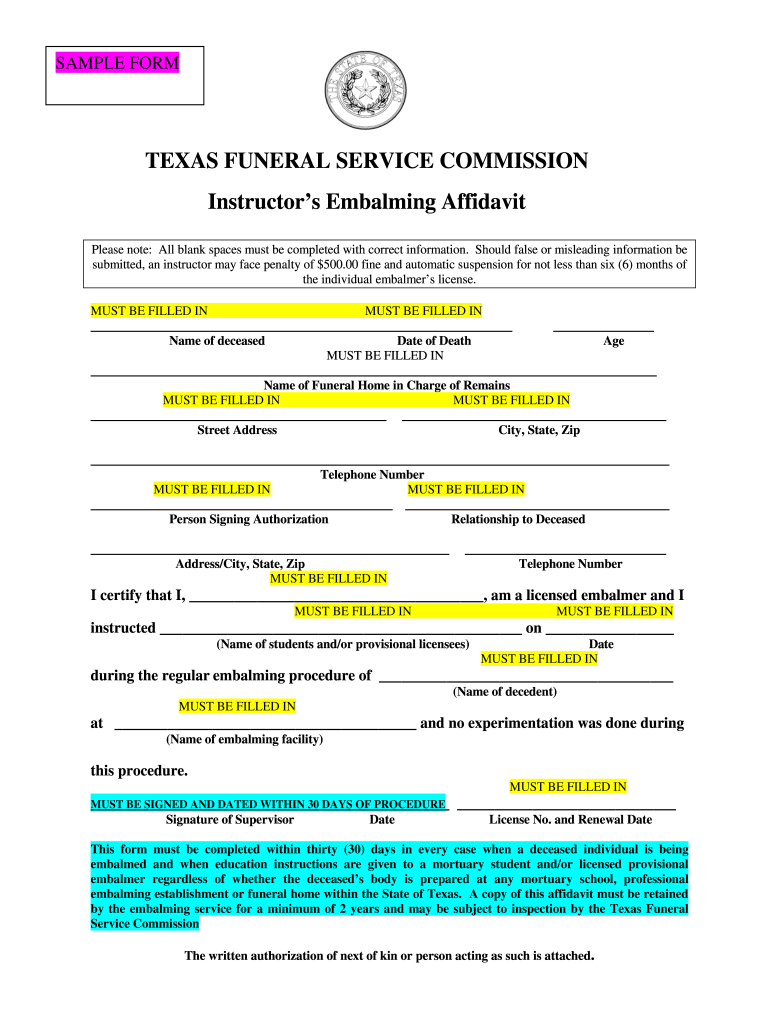 Get And Sign Embalmers Affidavit Form