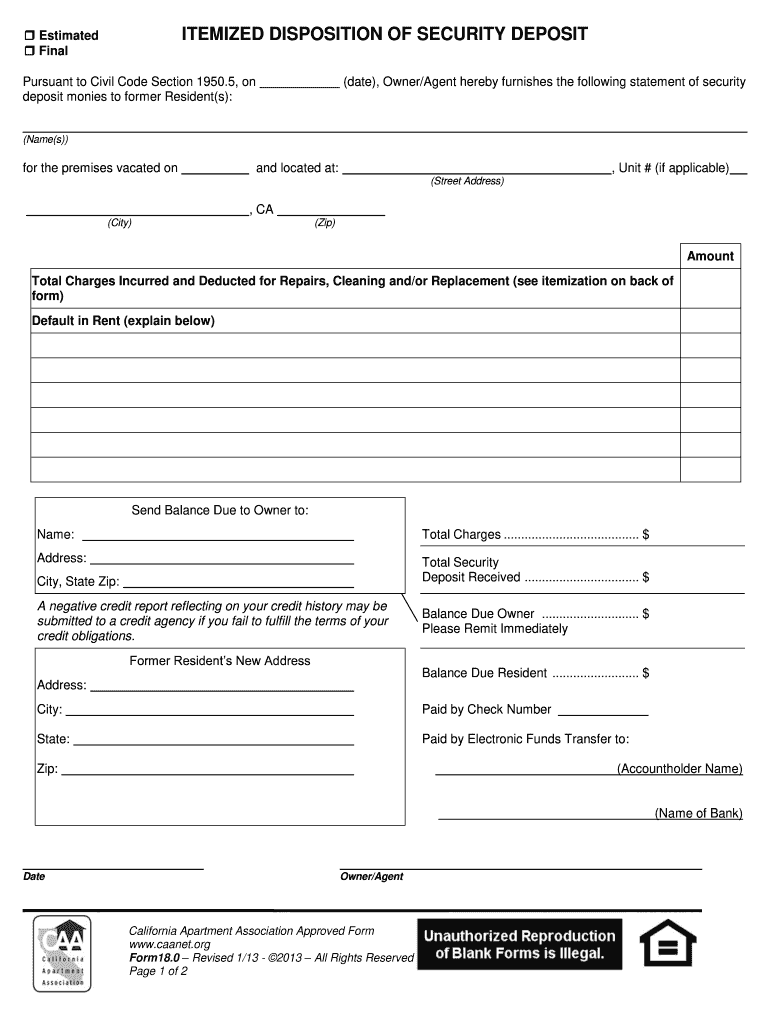 Get And Sign California Security Deposit Itemization Form 2013-2021