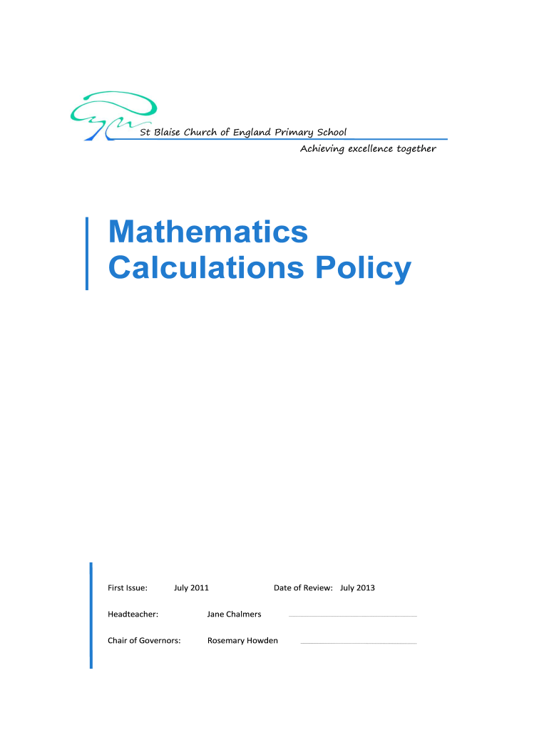Get And Sign Calculation Policy  St Blaise CE Primary School Achieving Bb  St blaise Oxon Sch 2011-2021 Form