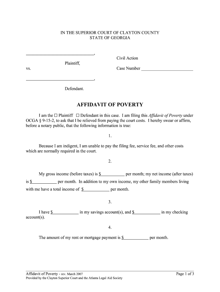 Get And Sign Georgia Affidavit Poverty 2007-2021 Form