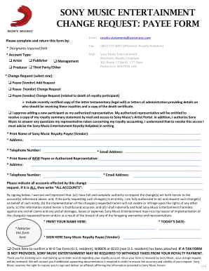 Get And Sign SONY MUSIC ENTERTAINMENTCHANGE REQUEST 2016-2021 Form
