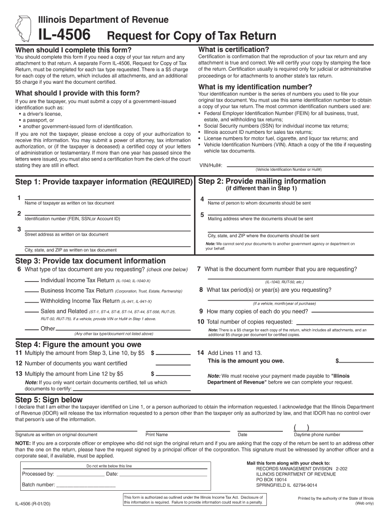 Illinois Iternal Revnue 4506 Fill Out And Sign Printable Pdf Template Signnow