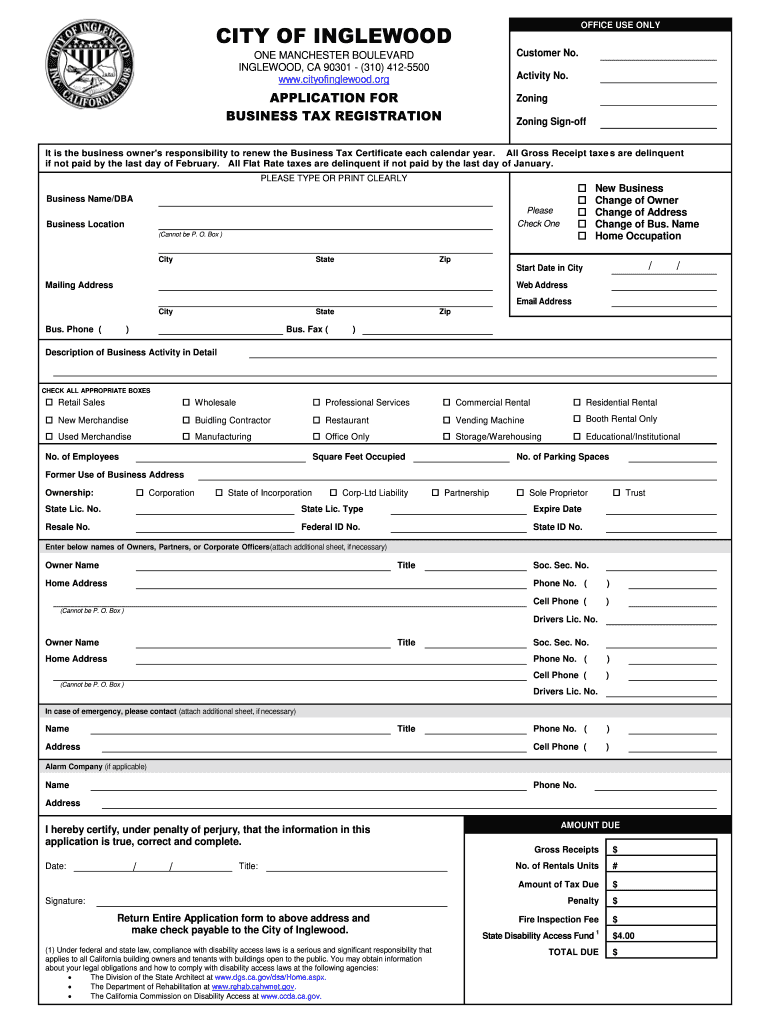 Get And Sign Business Tax Certificate Application City Of Inglewood Form