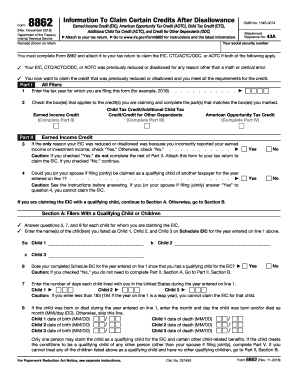 graphic regarding Irs Form 1310 Printable identify Sort 8862 2018-2019 - Fill Out and Signal Printable PDF