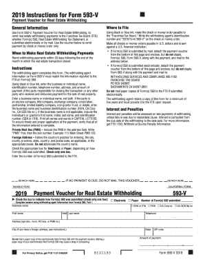 Get And Sign 2019 California Form 593-V - Payment Voucher