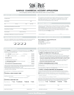 Sunpass commercial account application form - Fill Out and Sign