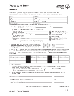 Get And Sign Practicum Form (Application For Sports Training Certification) - Sotx
