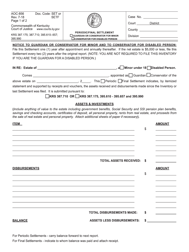 Get And Sign Commonwealth Of Kentucky Form Aoc 856 2018-2021