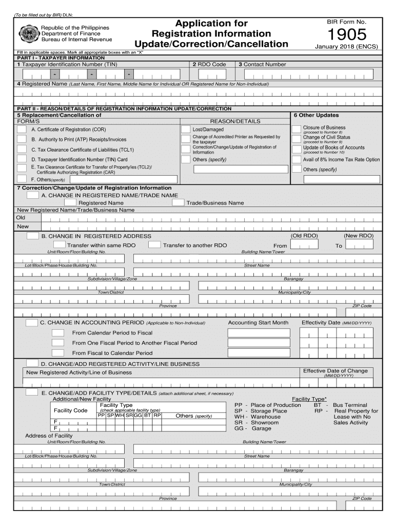 Bir 1905 Form Fill Out And Sign Printable Pdf Template Signnow