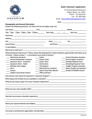 Get And Sign Youth Volunteer Application - Virginia Aquarium Form