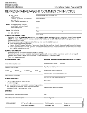 Get And Sign Representativeagent Commission Invoice UC Santa Barbara 2018-2021 Form