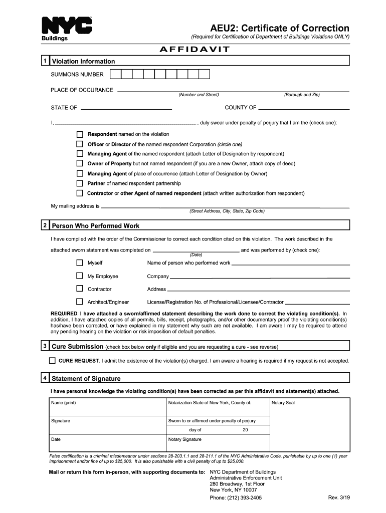 form correction certificate nyc fill signnow template pdffiller completed myself check printable performed statement