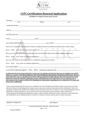 Get And Sign CATC Certification Renewal Application 2019-2021 Form