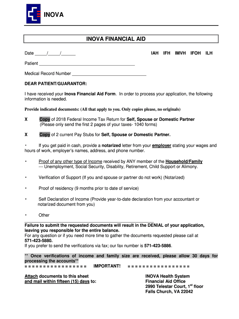 Get And Sign Inova Assistance 2019-2021 Form